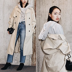 Joy Li - Zara Hoodie, Mango Oversized Trench Coat, Zara Black Bag, Zara Sock Boots, H&M Vintage Jeans - Trench #2