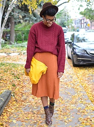 Sushanna M. - Thrifted Vintage Brown Trilby, Thrifted Brown Tortoise Cat Eye Glasses, Thrifted Vintage Burgundy Wool Sweater, Asos Orange Sweater Skirt, Brown Ankle Boots - Jubilee
