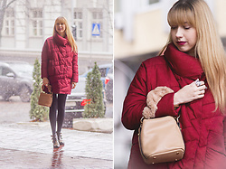 Julia F. - Vipshop Padded Coat, Dresslily Fur Strap Bag, Catwalk Studded Boots - Fur strap bag