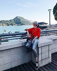 Karina Bogdan - Stussy T Shirt, Ralph Lauren Cap, Necklace, Michael Kors Watch, Urban Outfitters Pants, Urban Outfitters Tights, Vans Sneakers, Moschino Bag, Dolce & Gabbana Scarf, Furla Glasses - Stanley - Hong Kong