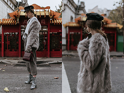 Andreea Birsan - News Boy Cap, Faux Fur Coat, Check Printed High Waisted Trouser, Snakeskin Boots, Burgundy Ladybug Bag, Gold Hoop Earrings - Snakeskin boots