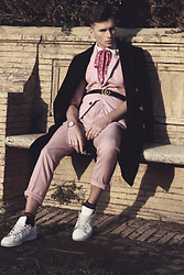 Łukasz Omiotek - Gucci Belt, Zara Jacket, H&M Coat, Calvin Klein Watch, Adidas Shoes, Zara Trouser, Calzedonia Socks, Escada Ties - PINK LOOK 70'S