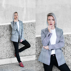 Nena F. - H&M Checked Blazer, Asos Jeans, Sacha Boots - The red boots