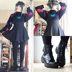 Amethyst . - Forever 21 Zipper Boots, Suspender Skirt, 80'S Sweater - Drivers test eve and hearts on my sleeves!