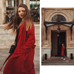 Alina Feminudity - Mango Coat, Christian Dior Bag, Adidas Sneakers - RED COAT