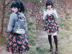 Adrianna Ghost - Forever 21 Overall Dress, Forever 21 Knee Highs, Jeffrey Campbell Shoes Tardy Lo, H&M Stripped Shirt, Hot Topic Totoro Backpack - Neighbor,