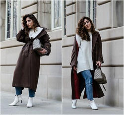 Christina N -  - Oversized Trench Coat with Chunky White Sweater