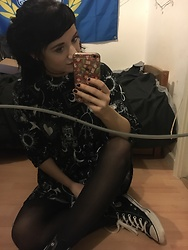 Idolsandanchors - Asos Tarot Card Smock Dress, Converse Black / White High Tops - Empty Skies