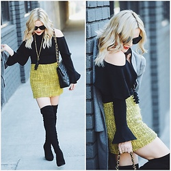Zia Domic - Storets Cold Shoulder Top, Alice & Olivia Tweed Skirt - Yellow