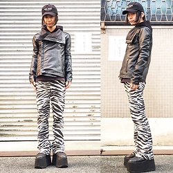 @KiD - (K)Ollaps New Wave, Beauty Beast Black Parka, Vintage Leather Jacket, Vintage Zebra Bell Bottom, Buffalo Platform - JapaneseTrash254