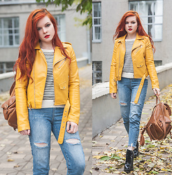Anya Dryagina - Metisu Yellow Long Sleeve Blazer Design Leather Jacket - Not only black
