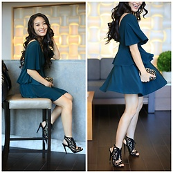 Kimberly Kong - Qupid Heels, Handbag Heaven Studded Clutch, Asos Cutout Dress - Getting Holiday Ready with Hair Cuttery