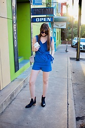 Danielle F - Blue Elephant Boutique Romper, Jeffrey Campbell Shoes Booties - Texas Blues