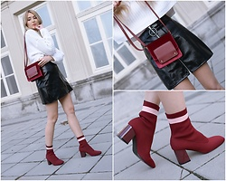 Sofija Surdilovic - Shein White Bat Wing Sweater, Rosegal Red Wine Socks Boots, Gamiss Red Velvet Bag - Sock boots, soul fruits!