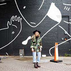 Sandy Joe Karpetz - Bailey Of Hollywood Bianco Renegade Hat, Aldo Silver Ball Dangly Earrings, Vintage Army Jacket, Levi's® Vintage Levis Jeans, Fishnet Socks, Rachel Comey Platform Heels - Up Against the Wall
