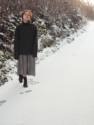 Ellie Evelyn Orrell - Paul Costelloe Oversized Cable Knit, Zara Pleated Silver Culottes, Dr. Martens Dr - December