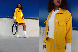 Yara Snow'z - Bershka Oversized Yellow Denim Jacket, New Yorker Yellow Skirt - IKEA