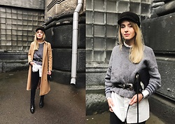Anna Pogribnyak - Na Kd Sweater, Na Kd Long Shirt, Cap, Topshop Belt, Camel Coat - Belt over the sweater