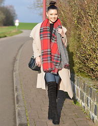 Raspberry Jam - Primark Plaid Scarf & Houndstooth, Kult Camel Coat, Primark Turtle Neck Long Sleeve Top, Fashion Nova High Waist Jeans, Jumex Over The Knee Boots, Michael Kors Bag - Camel Coat with Plaid Scarf
