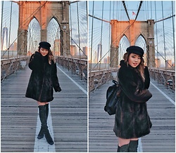 Eliza Tanudjaja - Kate Spade Fluff, Stuart Weitzman Grey Over The Knee Boots - Brooklyn Baby