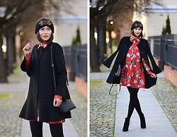 Daisyline . -  - Winter look with red dress / www.daisyline.pl