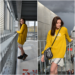 Lbtw_ - Zaful Yellow Sweat, Zaful Summer Dress, Romwe Black Shoes - Yellow sweater