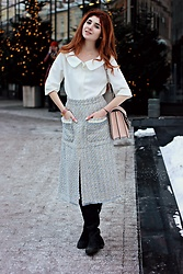 Maria Chamourlidou - Alexander Mcqueen Bag, Judy Green Shirt, Blesk Fashion Skirt - Blue tweed