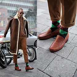 INWON LEE - Guidomaggi Leather Formal Shoes, Byther Leather Shearling Jacket, Byther Woolen Vest - Brownish Winter