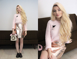 ♡Anita Kurkach♡ - Missguided Skirt, Shein Bag, Shein Swetaer, Asos Shoes - PINK OUTFIT!