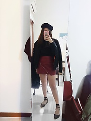Lingo Chou - Pazzo Sweatshirt, Zara Skirt, Net Shoes, Corban Hat, Navy Jacket - Black and Red Always feat Perfectly 🖤.