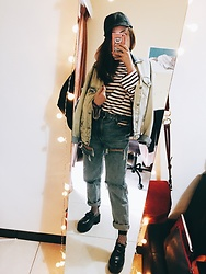 Lingo Chou - Bershka Ripped Jeans, Zara Long Sleeves, Zara Dennie Jacket, Zara Old Cap - Dennie old style. 👖