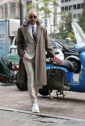 INWON LEE - Byther Cashmere Blazer, Byther Cashmere Slacks, Byther Check Overcoat, Byther Doodle Canvas Bag - Check? Check!