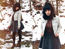 Adrianna Ghost - Forever 21 Jean Jacket, Primark Gray Skirt, Dr. Martens Leona - Snow days,