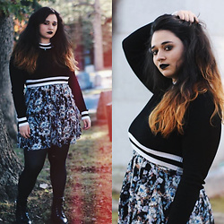Dani V. - Free People Floral Dress, Forever 21 Black Boots, Target Black Tights, H&M Black & White Striped Crop Top - ⚰ Graveyard ⚰