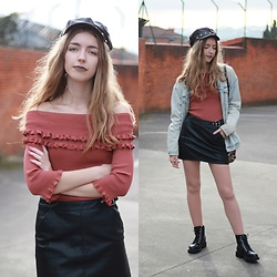 Alba Granda - Shein Baker Boy Hat, Zara Denim Jacket, Zara Leather Skirt, Ulanka Ankle Boots, Metisu Off Shoulders Sweater - Baker Boy