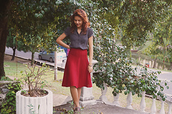 Shanaz AL - Unknown Burgundy Midi Skirt, Scarlet Collared Blouse, Brown Shoes - Dawn To Dusk