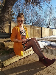 Evadne Norberto - Ardene Red Wedges, Urban Planet Cardigan, Forever 21 Dress - Warm Colours
