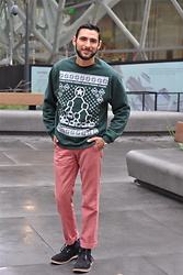 Hector Diaz - Sudo Shirt Binary Tree Ugly Christmas Sweater, J. Crew Soft Pink Chinos, Tommy Hilfiger Suede Boots (Similar), Roxxlyn Watch - Merry Geek-mas!