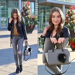 Taylor Doucette - Michael Kors Pom Pom Keychain, Michael Kors Colourblock Grey Selma Bag, Sam Edelman Black Booties, Citizens Of Humanity Grey Distressed Jeans, Zara Mustard Striped Blouse, Zara Leather Jacket - Touch - Sheppard