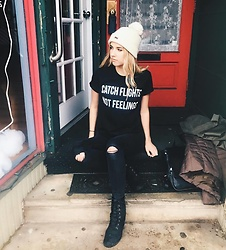 Amelia Burns - Obey Winter Hat, Etsy Shirt, Missguided Ripped Jeans, Timberland Booties - Catch Flights Not Feelings