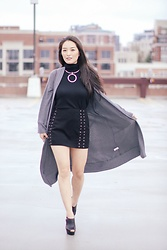 Kimberly Kong - Chaser Gray Robe, H&M Lace Up Mini, J Wholesale Silver Necklace - How to Wear Robes on the Regular