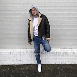 No Rehearsal - Vintage Shearling Coat, Uniqlo White Tee, Zara Skinny Jeans, Reebok Classic Sneakers - 8. BROWN