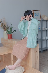 Flosmoony - Dottori Vintage ドウチュウギ, Dottori Vintage Skirt - Mint x Toffee
