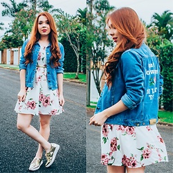 Priscila Figueredo - Lovelywholesale Jacket Jeans, Chicuu Floral Off Shoulder Bohemian Midi Dress, Dafiti Oxford - Flowers and Jeans;
