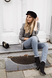 Maria B - Zara Newsboy Cap, H&M Longline Check Jacket, Zara Denim Jeans, Zara Sock Booties, Love Moschino Bag - News Boy Cap
