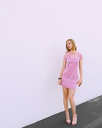 Katie Van Daalen Wetters - Kmart Blush Pink Mesh Dress, Simmi Shoes Velvet Heels - Chic Barbie
