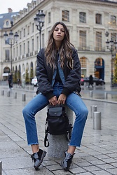 Fadela MECHERI - Asos Bomber Jacket, Lancel Backpack, Dr. Martens Derbies - Backpack