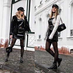 Catherine V. - Pimkie Aviator Jacket, Mango Patent Leather Dress, Zara Knit, Gucci Bag, Zara Pearls Boots, H&M Paper Boy Hat - PATENT LEATHER AND SNOW