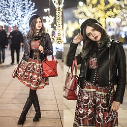 Ola Brzeska - Zaful Christmas Dress, Carrefour Beret, Zaful Corset Belt, Zaful Leather Jacket, Allegro Red Bag, Zaful Boots - Christmas is here