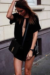 Malia Keana - Ysl Cross Body Bag, Paul Hewitt Watch, Chanel Necklace, Saboskirt Romper - All black  street style romper look